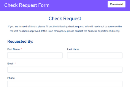 Check Request Form Template