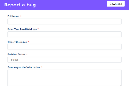 Report a Bug Form