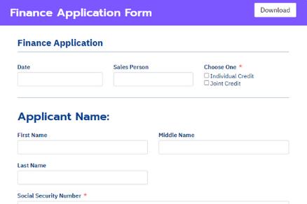 Fluent Forms finance application form
