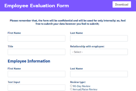 Fluent Forms employee evaluation form