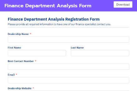 Fluent Forms' finance department analysis form