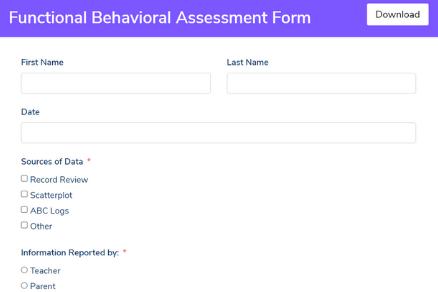 Functional Behavioral Assessment Form