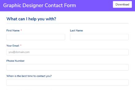 Graphic Designer Contact Form