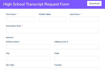 High School Transcript Request Form Template - Fluent Forms