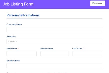 Job Listing Form