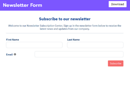 Newsletter Form Template