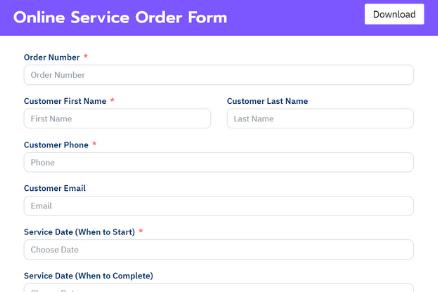 Online Service Order Form