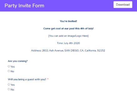 Party Invite Form Template
