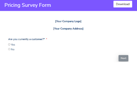 Pricing Survey Form Template