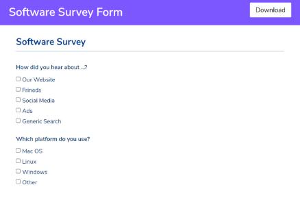 Software Survey Form