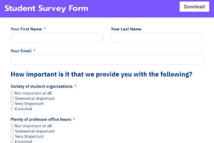 Student Survey Form Template