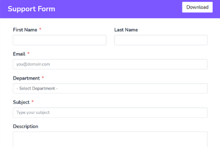 Support Form Template