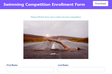 Swimming Competition Enrollment Form