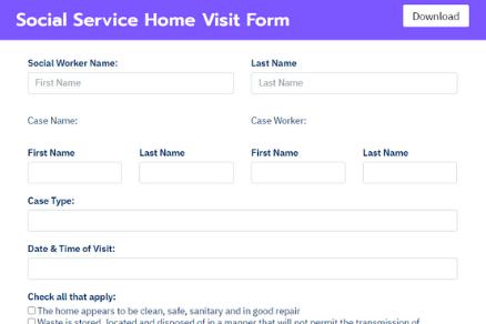 Social Service Home Visit Form