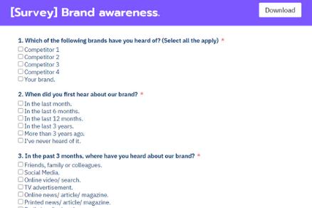 Brand awareness form template