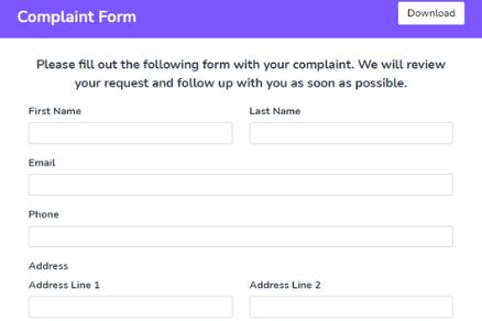 Complaint Form Demo