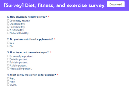Diet, fitness, and exercise survey