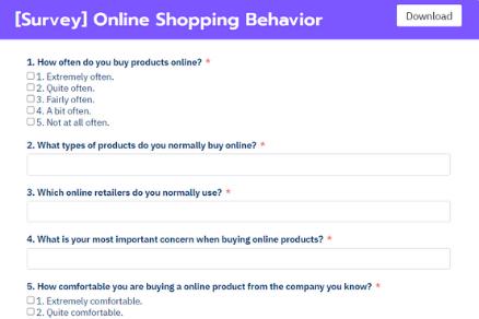 Online Shopping Behavior Form