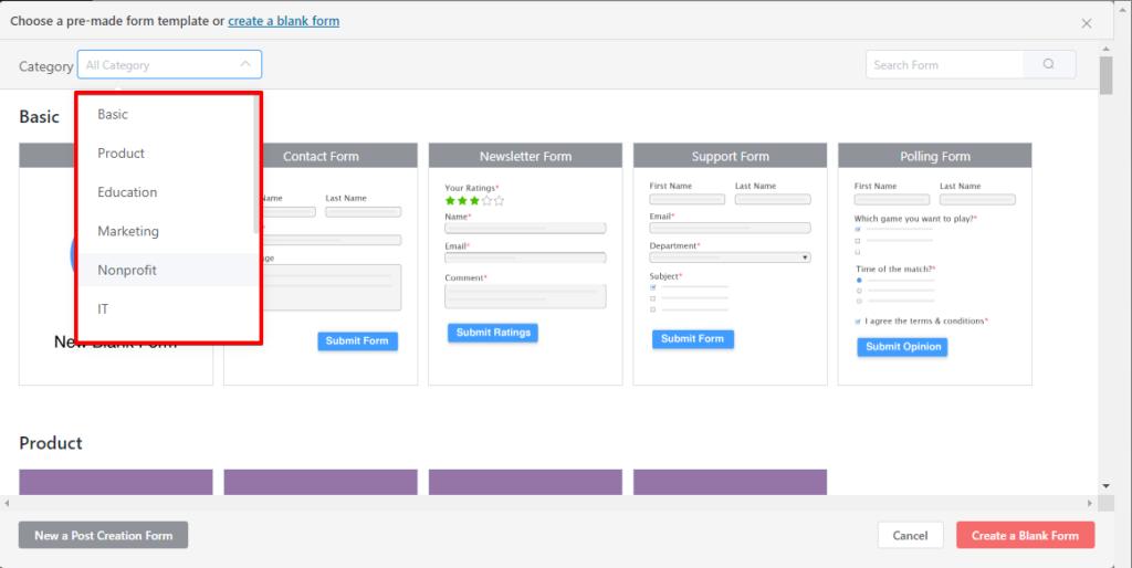 Fluent Forms - prebuilt form templates