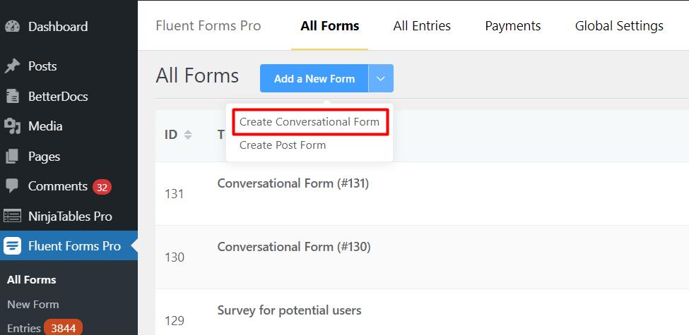 Create a new Conversational Form