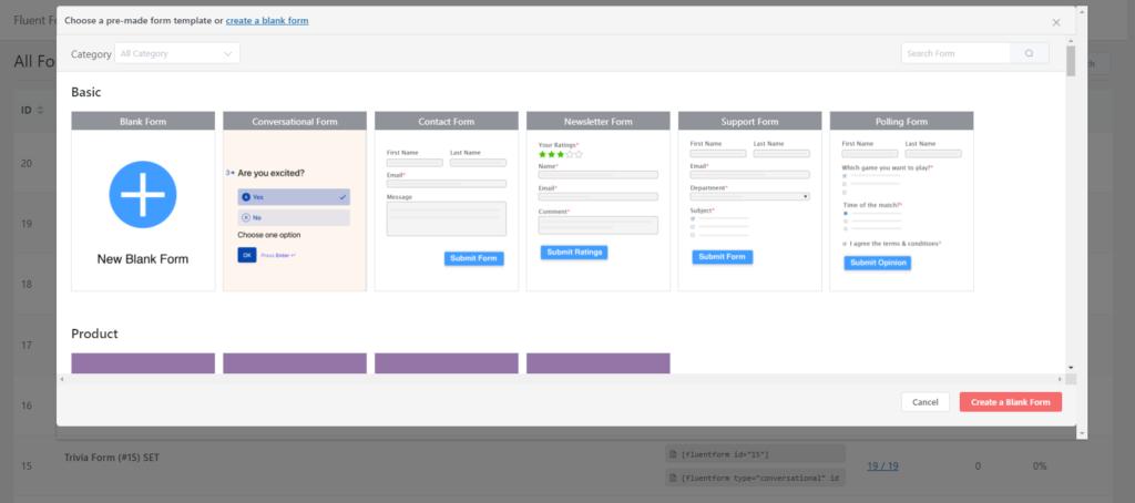 prebuilt form templates- Fluent Forms