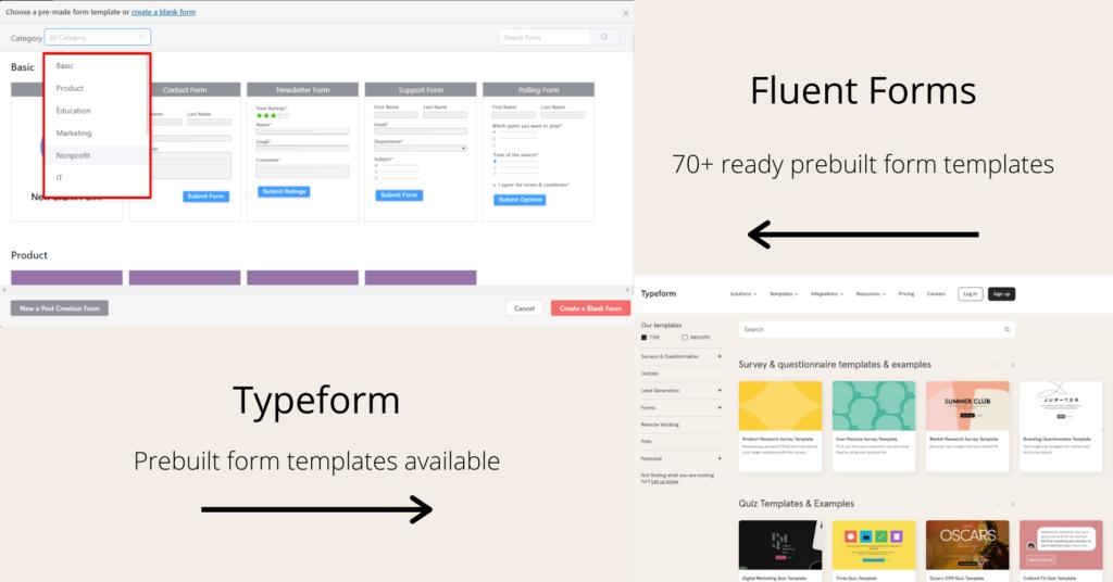 Typeform vs Fluent Forms - prebuilt form templates