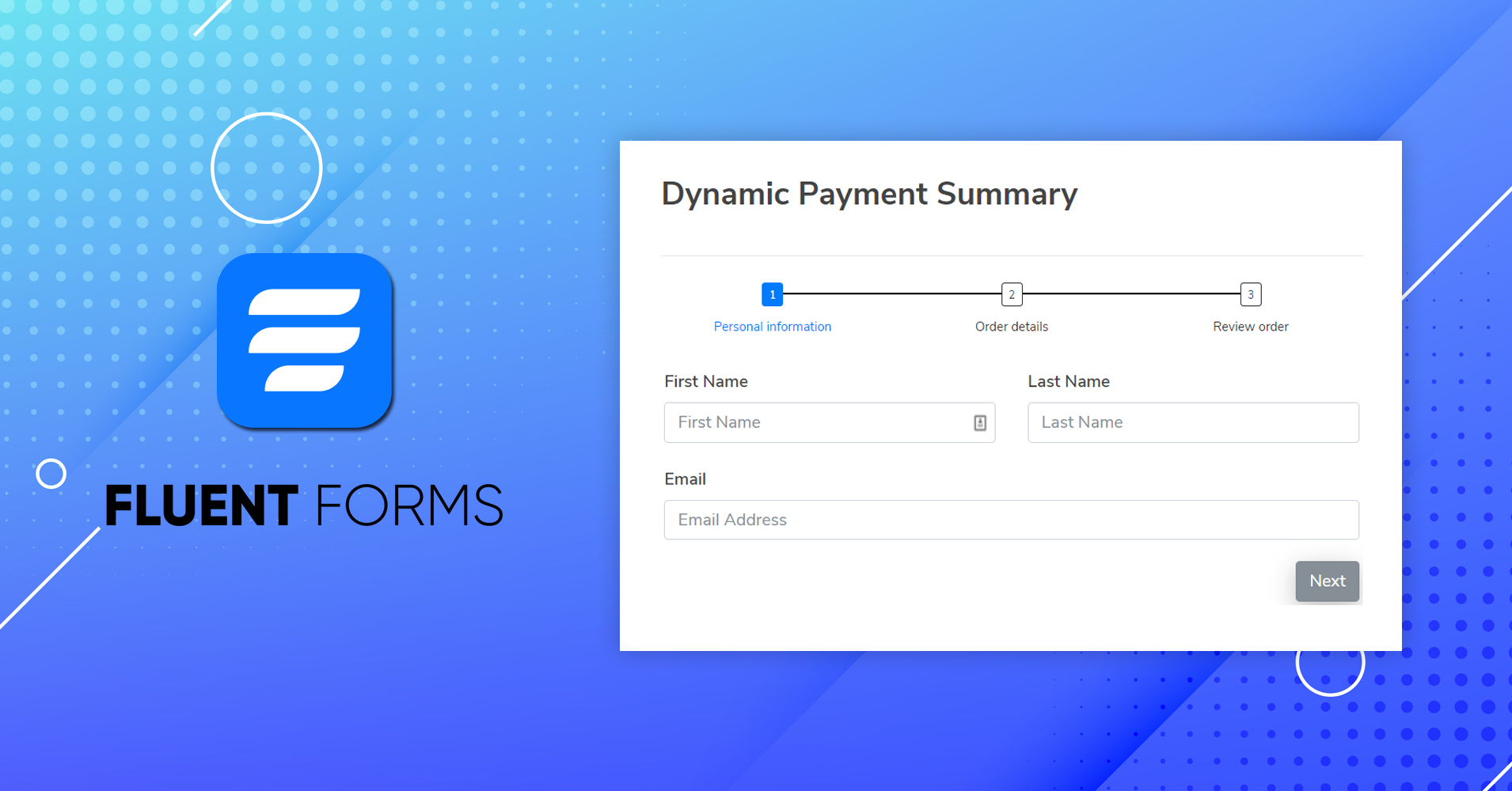 Fluent Forms Dynamic Payment Summary