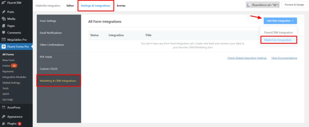 MailerLite Integration to Fluent Forms