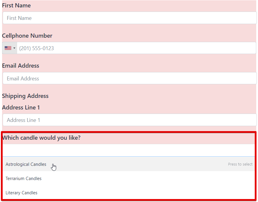 how to create an order form - multiple choice field - fluent forms