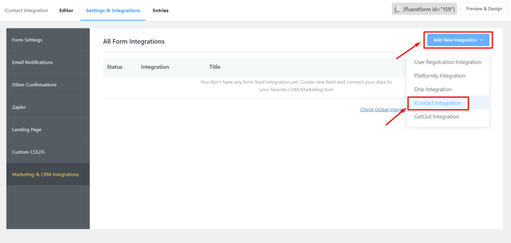 Add iContact Integration - Fluent Forms